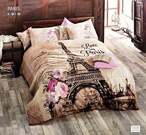 100% Baumwolle Tröster Set 5pcs Paris Eiffelturm Braun Thema Mottoparty Pink Blumen Full/Queen Size Betten Bettwäsche (Tröster Eiffelturm)