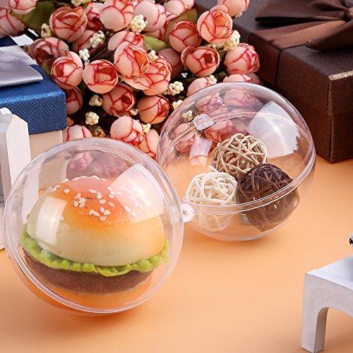 Ornament Ball Kunststoffkugeln 20 Stücke Weihnachtskugeln Christbaumkugel 20 Stücke 8 cm aus transparentem Kunststoff Für Neujahr, Weihnachten, Hochzeit als DIY schmuck (8CM)