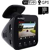 AKASO Dashcam Full HD 1296P Autokamera GPS Auto Kamera mit WiFi, 170° Weitwinkelobjektiv, Parkmonitor, Loop Aufnahme, Nachtsicht und G-Sensor, eine 16GB SD Karte Beigefügt (schwarz)