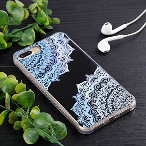 iPhone 8 Plus Custodia, iPhone 7 Plus Custodia, iPhone 8 Plus/7 Plus Cover, JAWSEU Bella Luminoso [Shock-Absorption][Anti Scratch] Protectiva Bumper per iPhone 8 Plus/7 Plus Cristallo Chiaro Cover Cas Fiori di pizzo, Nero