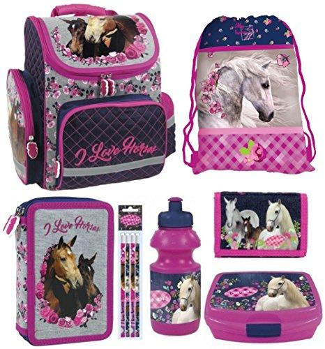 1ff0ab1fb1e47 PFERD PONY HORSES 10 Teile bl SET SCHULRANZEN RANZEN FEDERMAPPE + Sticker  von Kids4shop TASCHE TORNISTER
