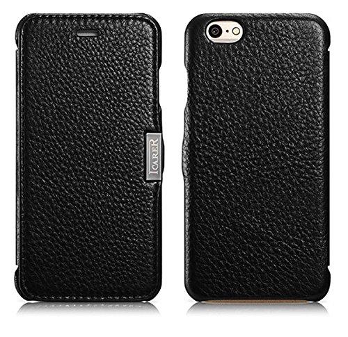Luxus Tasche für Apple iPhone 6 (4.7 Zoll) / Außenseite aus echtem Leder / Innenseite aus Textil / seitlich aufklappbar / ultraslim / Folder Case / Farbe: Schwarz Schwarz