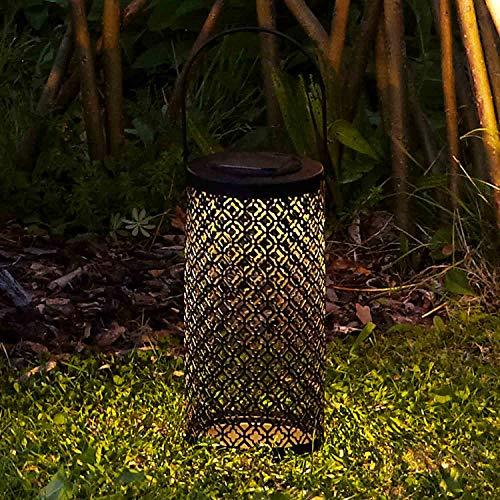 Lights4fun - Farolillo Decorativo Solar Grande de Metal Negro con 1 LED de Luz Blanca Cálida