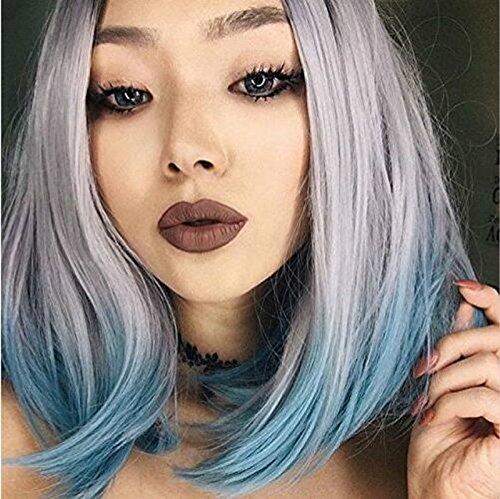 Nouveau Mode résistant à la chaleur Fibre Cheveux avec racines foncées Gris argenté/vert clair Ombre court Bob Perruque synthétique Lace Front Perruques