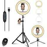 12 inch Selfie Ringlicht met Statief, LED Ring Licht Externe Selfielampen met 3 Kleuren en 10 Helderheidsniveaus voor Mobiele