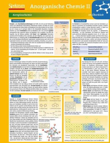 Lerntafel: Anorganische Chemie II im Überblick (Lerntafeln Chemie, Band 3) (Chemie Anorganische 2.)