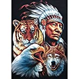 Rowentauk Diamond Painting DIY Full Drill 5D Rhinestone Pictures of Crystals Embroidery Kits Arts for Home Decor - Indians