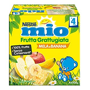 Nestlé Mio Frutta Grattugiata Mela e Banana, da 4 Mesi, senza Glutine, 6 Confezioni da 4 Vasetti, 24 Vasetti
