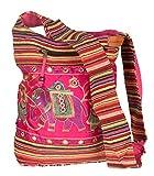 Tribe Azure Fair Trade Bolso De Hombro Rosa Hecho A Mano Bordado De Elefante Bolso Boho Bohemio Bolso Hippy Para La Playa.