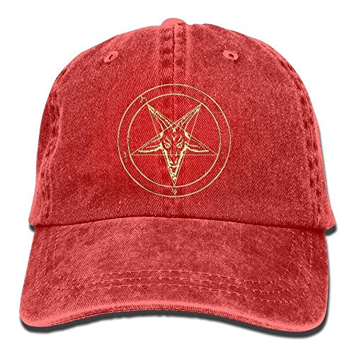 ferfgrg Gold Baphomet Inverted Pentacle Pewter Satanic Goat Head Unisex Washed Twill Cotton Baseball Cap Vintage Adjustable Hat HI686 Washed Cotton Twill Cap