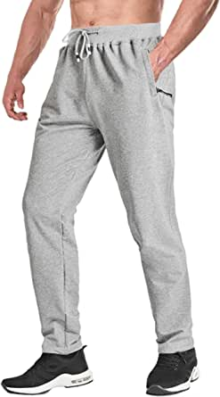 KEFITEVD Sports Running Trousers for Men Breathable Gym Tracksuit Yoga Jogging Bottoms with Zipper Pockets