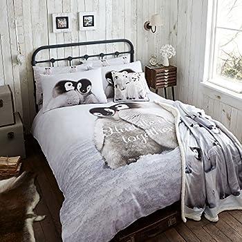 hnl winter biber bettw sche snow pinguin grau 135x200 cm. Black Bedroom Furniture Sets. Home Design Ideas
