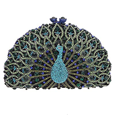 Bonjanvye Glitter Crystal Peacock Clutch for Girls Peacock Clutch Evening Bag