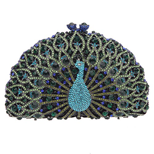 Bonjanvye Glitter Crystal Peacock Clutch for Girls Peacock Clutch Evening Bag Dark Blue dark green
