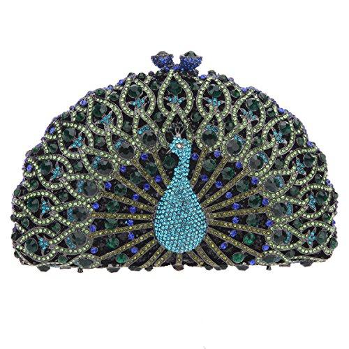 Bonjanvye Glitter Crystal Peacock Clutch for Girls Peacock Clutch Evening Bag Dark Blue dark green