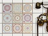 Fliesenaufkleber für Bad Deko u. Küche - CREATISTO Fliesensticker | Mosaikfliesen - Vinyl Fliesensticker | Dekorative Fliesenfolie für Wandfliesen | 10x10 cm - Motiv Mosaik Afrika - 9 Stück