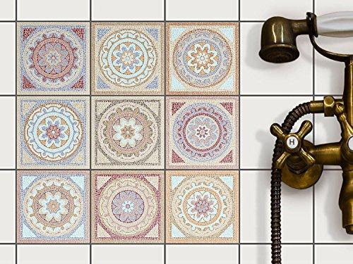 Fliesenaufkleber für Bad Deko u. Küche - CREATISTO Fliesensticker | Mosaikfliesen - Vinyl Fliesensticker | Dekorative Fliesenfolie für Wandfliesen | 10x10 cm - Motiv Mosaik Afrika - 36 Stück