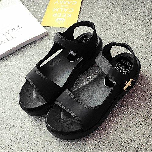 RUGAI-UE Estate sandali donne fondo spesso a fondo piatto per il tempo libero degli studenti scarpe piatte Black