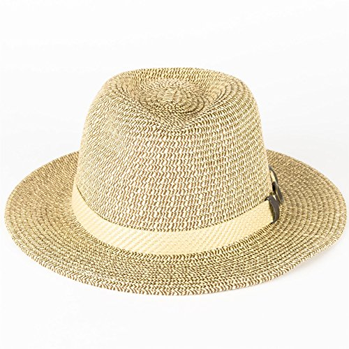 Chapeau en feutre Fedora à paillettes avec Buckle ruban Beige/Marron
