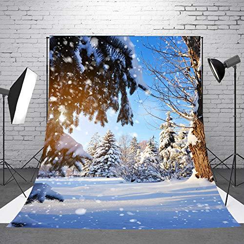 Lelinta 5X7ft Winterfotografie Kulissen Weißer Schnee Thema Vinyl Fotografie Hintergrund für Studio Requisiten Porträt Hintergrund Dekoration