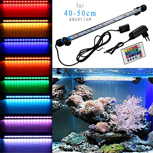 MAINLICHT Aquarium Lampe de Tube Submersible 18 LED 4W Eclairage Lumière Multicolore + 24 Touches Télécommande pour 40-50cm Poisson Réservoir