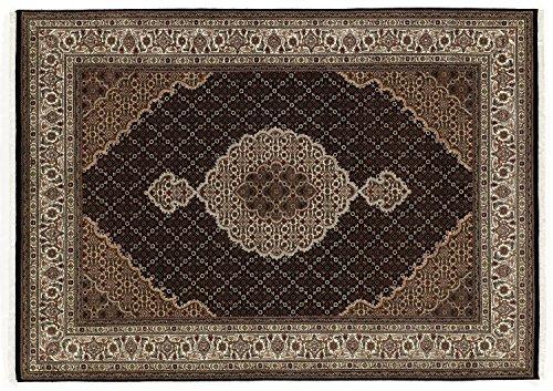 PARISA MAHI echter klassischer Orient-Teppich handgeknüpft in schwarz-creme, Größe: 80x350 cm