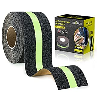 "Anti-Slip Grip Tape – Glow-in-Dark for Local Illumination - Improves Grip and Prevents Risk of Slippage on Stairs or Other Slippery Surfaces - 2"" Wide and 14' Long Roll - Keeps You Safe!"