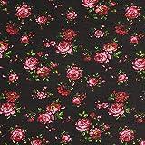 Fabulous Fabrics Chiffon Rosen – schwarz — Meterware ab