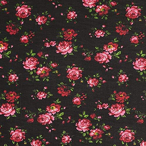 Fabulous Fabrics Chiffon Rosen - schwarz - Meterware ab 0,5m - zum Nähen von Blusen, Hemden und Kleider -
