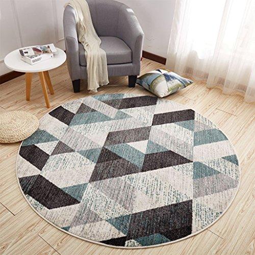 DWW-Tapis Chambre ronde anti-dérapant tapis chaise d'ordinateur anti-poussière mat tapis imprimé fibre douce (taille : 80cm)