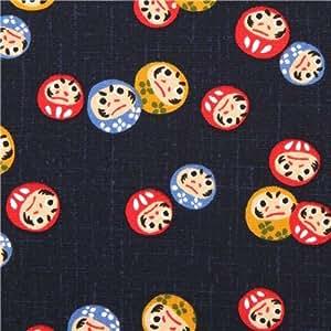 Tissu en coton structuré bleu marine avec des Daruma Kyoto, importé du Japon
