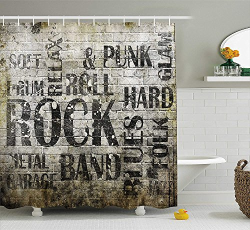 n by, Music Wall with Punk Jazz Rock Metal Garage Soft Blues Folk Artsy Murky Graphic, Fabric Bathroom Decor Set with Hooks, 60x72 inches Extra Long, Black Grey ()