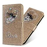 Miagon Hülle Glitzer für Galaxy J5 2017,Luxus Diamant Strass Herz PU Leder Handyhülle Ständer Funktion Schutzhülle Brieftasche Cover für Samsung Galaxy J5 2017,Gold