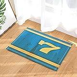 Mur Art Douche Décor Papier peint Numéro7 sur Rustique Bleu Mur Tapis de Bain Non-Slip Paillasson Entrée au Sol Intérieur Avant Porte Tapis Enfants Tapis de Bain 60X40CM Salle De Bains Accessoires