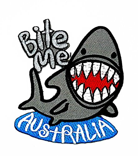 Australia Film Kostüme (rabana Shark Bite Me Australien BORDADO Hierro EN Cartoon Kids Kinder Cute Animal Patch für Heimwerker-Applikation Eisen auf Patch T Shirt Patch Sew Iron on gesticktes Badge Schild)