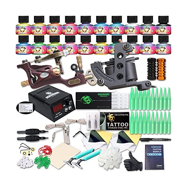 Professional Great tattoo Starter Tattoo Kit Machines 20 Color Inks Top CE Power Supply DIY285ADE Tattoo World