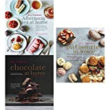 afternoon tea at home, chocolate at home and patisserie at home 3 books collection set by will torrent - deliciously indulgent recipes for sandwiches, savouries, scones, cakes and other fancies, step-by-step recipes from a master chocolatier, step-by-step recipes to help you master the art of french pastry