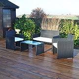 Kingfisher FSR 4 Piece Black Rattan Effect Garden Patio Furniture Set (Garden & Outdoors)