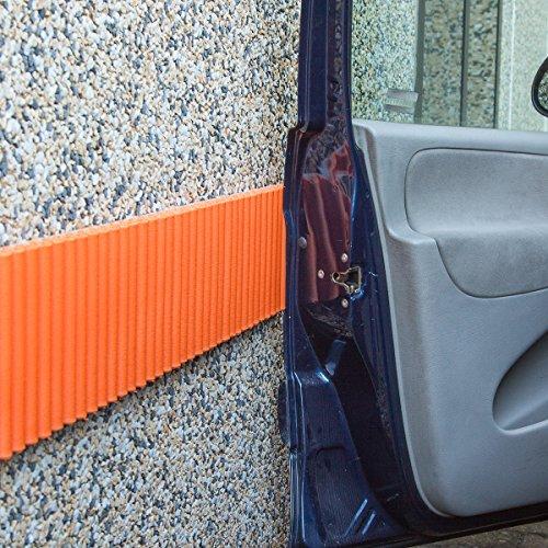 Mondaplen Wall Bumper: Paracolpi Garage, Strisce Adesive Ammortizzanti per le Pareti del Box Auto (set da 2 strisce) Ciascuna ≈ 17 cm x 135 cm. Colore Arancione. - Auto Box