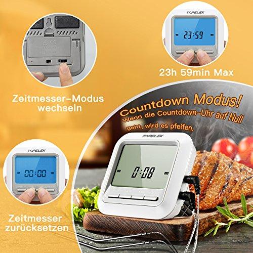 61EGt20UzlL - Fleischthermometer TOPELEK Bratenthermometer Grillthermometer 2 Sonden Haushaltsthermometer Temperatur Voreinstellung, Countdown Timer, Instant Read-Out, Magnetische Montagedesign für Küche, Grill