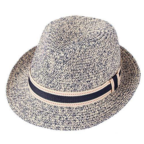Taylormia Panama Hut für Frauen Sommer Sonnenhut UV-Schutz Faltbarer Strohhut UPF 50+ Marine