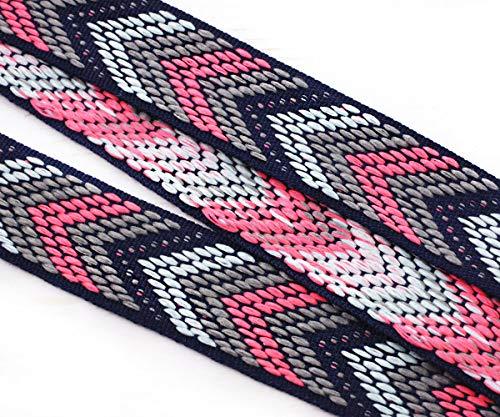 2m 2.18 Yard 6.56 ft Dark Blue Pink Coral Grau Chevron Boho Schnur Nativen Ethnischen Baumwolle Webband Flache Stoff Ribbon Boho-Band 22mm (Chevron-stoff Coral)