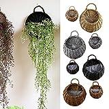 Cestini appesi del rattan del giardino Vasi appesi del piantatore del vimine Vasi d'attaccatura del fiore di vimini del rattan (L, Dark Brown)