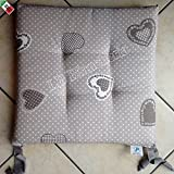R.P. Cuscino Sedia con Lacci Kiss Cuori Country Chic cm 40x40 - Made in Italy, Tortora