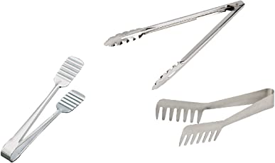 Dynore Stainless Steel Tong Set, Set of 3, Silver