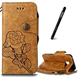 Galaxy A3 2016 Case Khaki,Slynmax Floral Vintage Rose Design Flip Folio PU Leather Wallet Case Soft TPU Inner with Magnetic Closure Stand Function Credit Card Holder ID Slots Pouch Hand Strap Shockproof Drop Proof Shell for Samsung Galaxy A3 2016 + 1* Stylus Pen