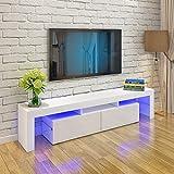 Keinode LED-TV-Schrank 200 cm RGB LED TV Stand Modern Möbel Weiß Matt und Weiß Hochglanz Türen Hochglanz LED Lichter Sideboard Einheit Storage Möbel für Wohnzimmer Schlafzimmer weiß