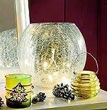 Weihnachtsdeko Schale Bruchglas mit Lichterkette für innen 21x20 cm - tolle Dekoration für Herbst und Advent