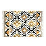 Homescapes - Tapis Kilim en Laine à Motif géométrique Jaune, Fabrication Artisanale - Agra - 120 x 170 cm...