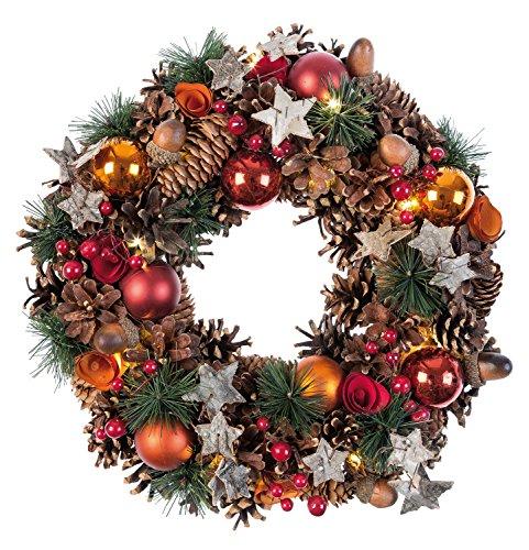Idena 8585271 - Weihnachtskranz mit 10 LED warm weiß, mit 6 Stunden Timer Funktion, Batterie betrieben, für Deko, Weihnachten, Advent, als Stimmungslicht, Türkranz, ca. 28 cm - Adventskranz Kleiner Künstliche